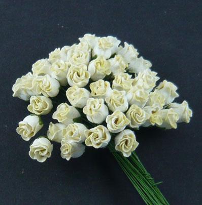 Бутоны роз полуоткрытые, кремовый, 1 см, 5 шт.