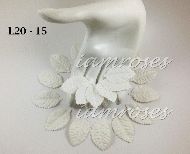 Листья розы без стебля 2,5*4 см, белый, 10 шт.