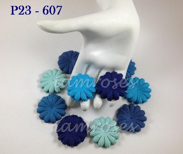 Маргаритка средняя 4 см, голубой микс, 10 шт.