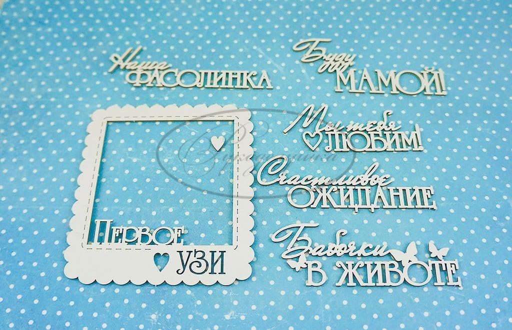 "Чипборд ""Надписи для дневника беременности 1 "" (Рукоделушка), 6 шт."