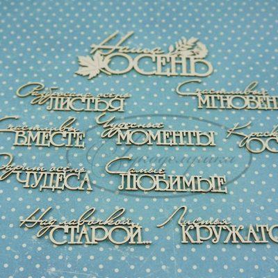 """Чипборд """"Осенние надписи 1"""" (Рукоделушка), 10 шт."""