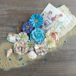 """Декоративные  цветы """"Vintage Quarter"""" коллекции """"French Riviera"""" (Prima), коричнево-синий, 8 шт."""