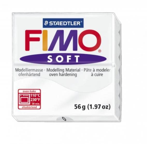 Полимерная глина FIMO Soft  запекаемая, белый, 56 г.