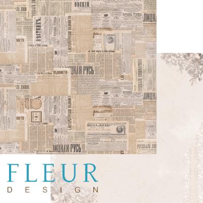 """Лист бумаги """"Сводки новостей"""", коллекция """"Блошиный рынок"""" (Fleur design), 30х30 см"""