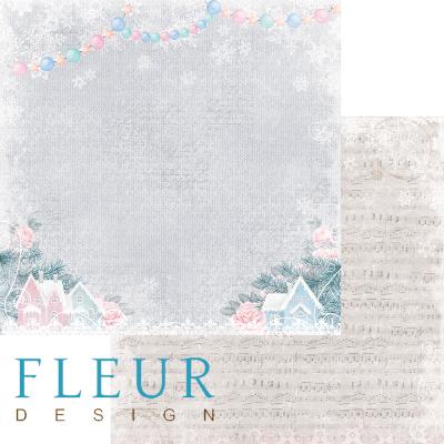 """Лист бумаги """"Зима в деревне"""", коллекция """"Новогодняя сказка"""" (Fleur design), 30х30 см"""