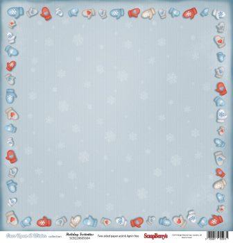 """Лист бумаги """"Зимние Забавы"""", коллекция """"Однажды Зимой"""" (ScrapBerry's), 30х30 см"""