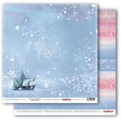 """Лист бумаги """"Заснеженный пейзаж"""", колекция """"Зимняя Сказка"""" (ScrapBerry's), 30х30 см"""