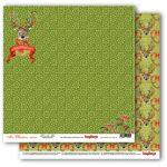 """Лист бумаги """"Рождественский олень"""", коллекция """"Рождественская Омела"""" (ScrapBerry's), 30х30 см"""