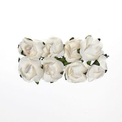 Розы 2,5 см (ScrapBerry's),  белые, 8 шт