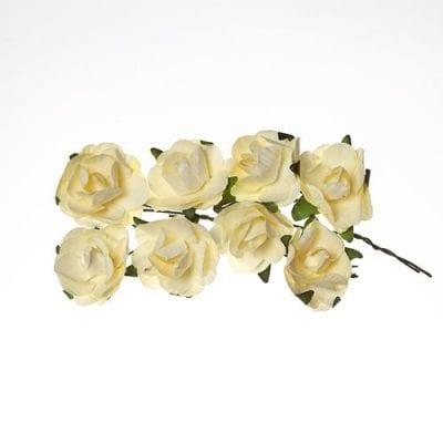 Розы 2,5 см (ScrapBerry's),  кремовые, 8 шт