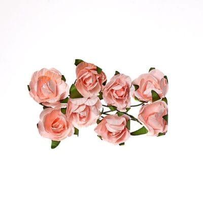 Розы 2,5 см (ScrapBerry's),  нежно-розовые, 8 шт