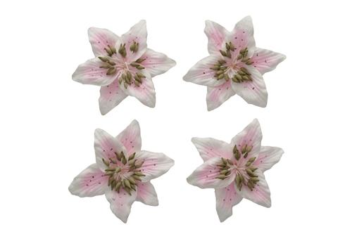 Цветы лилии (ScrapBerry's), бело-розовые, 5 см, 4 шт