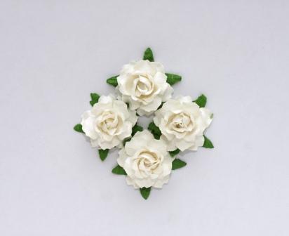 Цветы кудрявой розы (ScrapBerry's),  белые, 2,5 см,  4 шт