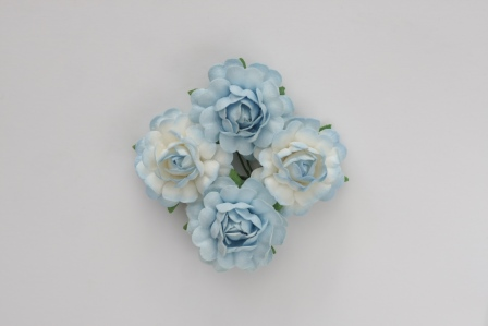 Цветы чайной розы (ScrapBerry's), бело-голубые, 3,5 см, 4 шт