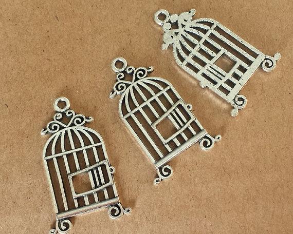 """Металлические подвески """"Птичья клетка"""", античное серебро, 1 шт"""