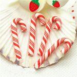 Рождественский леденец 3 см, бело-красный, 1 шт.
