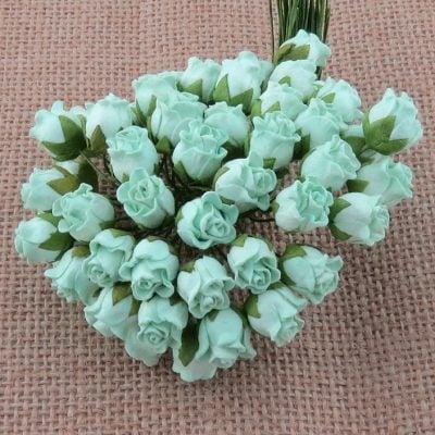 Бутоны роз открытые, мятный, 1,3 см, 5 шт.