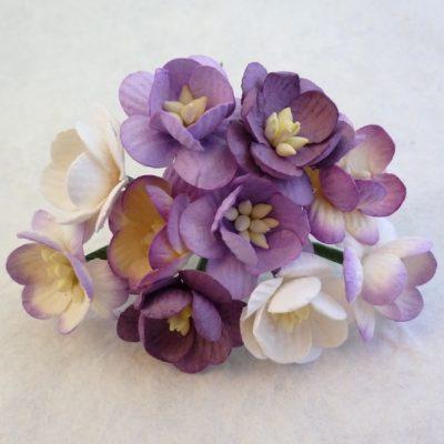 Цветы вишни микс в сиреневых тонах  5 шт 2.5 см