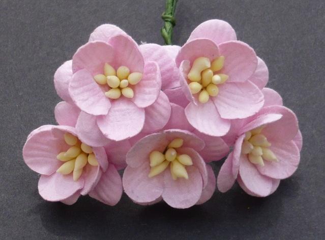Цветы вишни 2,5 см, детский розовый, 5 шт