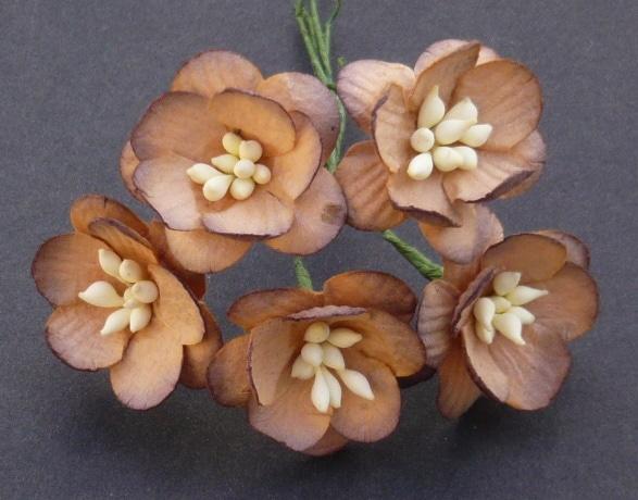 Цветы вишни 2,5 см, темный шоколад, 5 шт