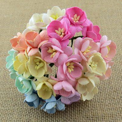 Цветы вишни микс в пастельных тонах, 10 шт 2.5 см