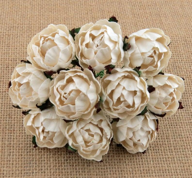 Английская роза 3 см, айвори, 5 шт