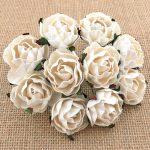 Английская роза 3 см, белый, 5 шт