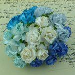 Розочки кудрявые, голубой микс, 3 см, 5 шт