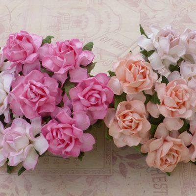 Кустовые розы 3 см, розовый микс, 4 шт.