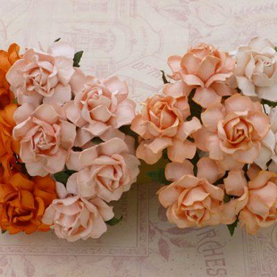 Кустовые розы 3 см, персиково-оранжевый микс, 4 шт.