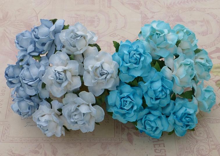 Кустовые розы 3 см, голубой микс, 4 шт.