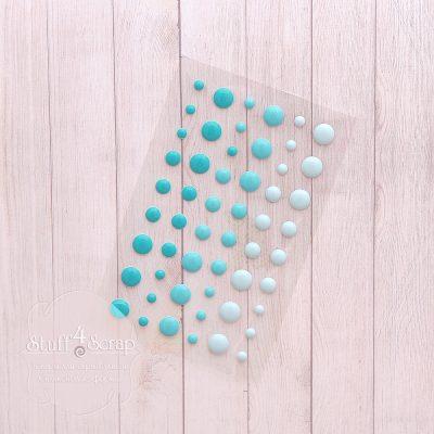 Эмалевые точки (дотс), голубой микс, 54 шт.