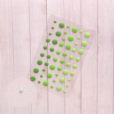 Эмалевые точки (дотс), зеленый микс, 54 шт.