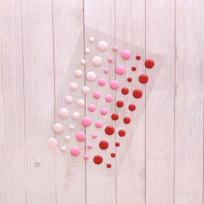 Эмалевые точки (дотс), красно-розовый микс, 54 шт.