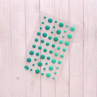 Эмалевые точки (дотс), бирюзовый микс, 54 шт.