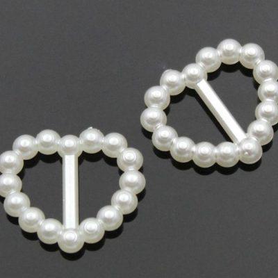 Акриловая пряжка сердце, белый, 15*16 мм, 25 шт.