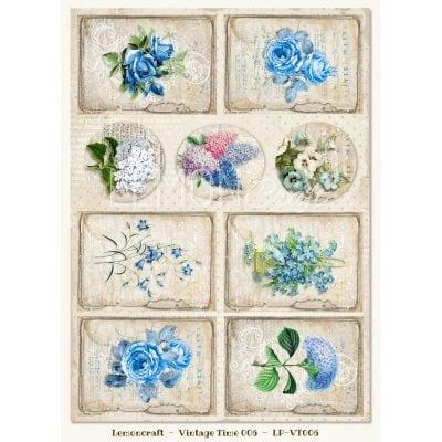 """Лист бумаги """"Винтажное время-06"""" коллекции """"Gossamer Blue"""" (Lemon Craft), А4"""