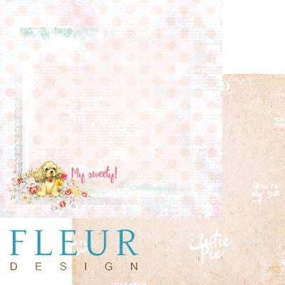 """Лист бумаги для скрапбукинга """"Бусинки"""", коллекция """"Пупсики"""" (Fleur design), 30х30 см"""