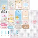 """Лист бумаги для скрапбукинга """"Теги и карточки"""", коллекция """"Пупсики"""" (Fleur design), 30х30 см"""