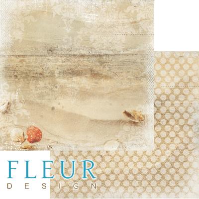 """Лист бумаги для скрапбукинга """"Песочный берег"""", коллекция """"Лагуна"""" (Fleur design), 30х30 см"""