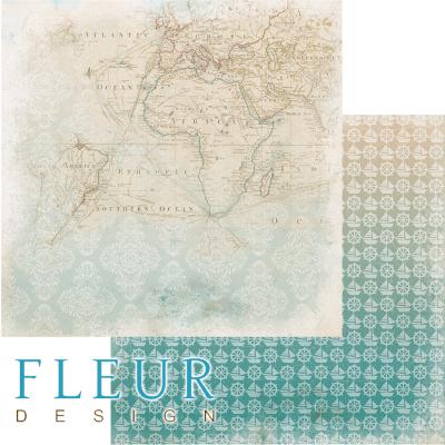 """Лист бумаги для скрапбукинга """"Карта"""", коллекция """"Лагуна"""" (Fleur design), 30х30 см"""