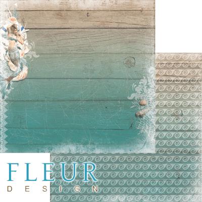 """Лист бумаги для скрапбукинга """"Подводное царство"""", коллекция """"Лагуна"""" (Fleur design), 30х30 см"""