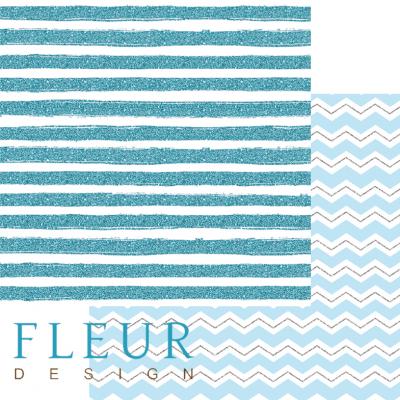 """Лист бумаги для скрапбукинга """"Бирюзовый бриз"""", коллекция """"Мой джентльмен"""" (Fleur design), 30х30 см"""