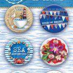 """Скрап-фишки (топсы) коллекции """"SEA adventure""""  (Bee Shabby), 6 шт."""