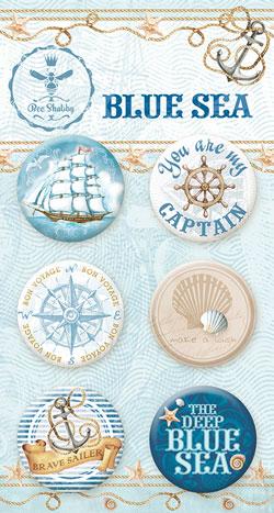"""Скрап-фишки (топсы) коллекции """"BLUE SEA""""  (Bee Shabby), 6 шт."""