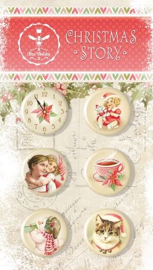 """Скрап-фишки (топсы) коллекции """"CHRISTMAS STORY""""  (Bee Shabby), 6 шт."""