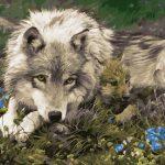 """Картина по номерам """"Мама с волчонком"""", 40х50 см."""