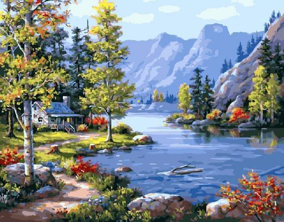 "Картина по номерам ""Домик в горах"", 40х50 см."