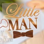"""Надпись из термотрансфера """"Little man"""" с бабочкой, 9,5*10 см."""