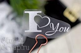 Готовая надпись из термотрансферной пленки для скрапбукинга I love you
